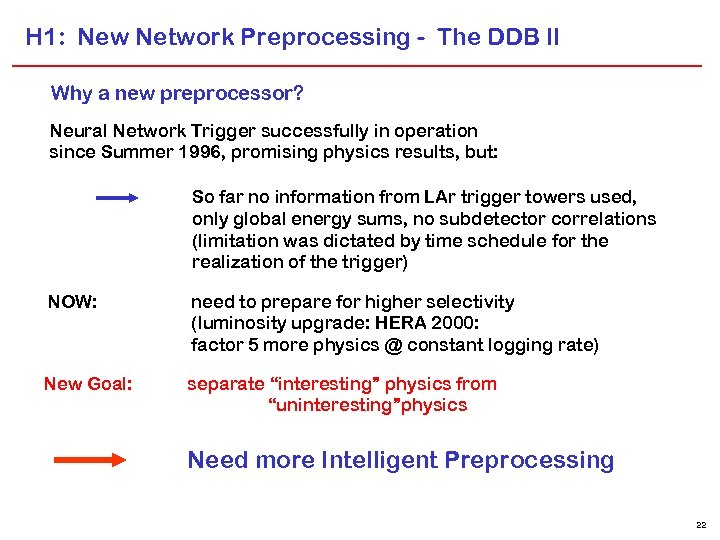 H 1: New Network Preprocessing - The DDB II Why a new preprocessor? Neural