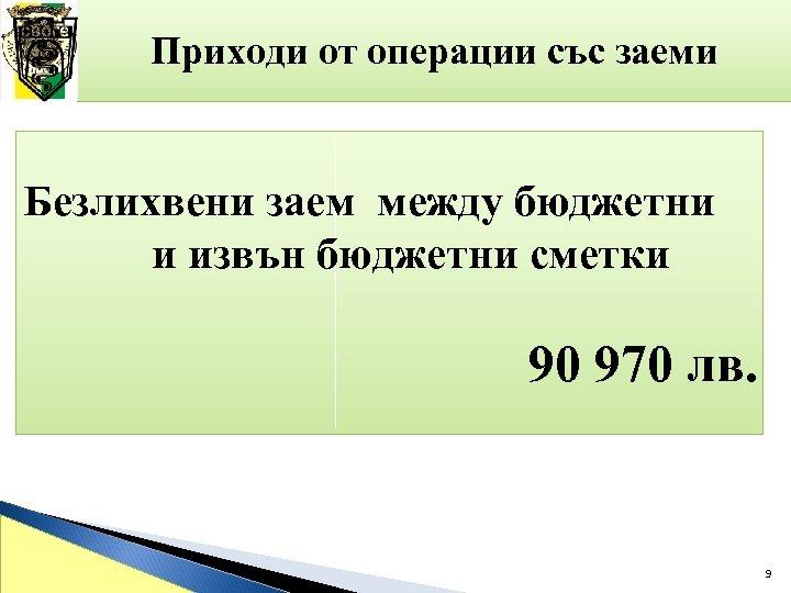 Приходи от операции със заеми Безлихвени заем между бюджетни и извън бюджетни сметки 90