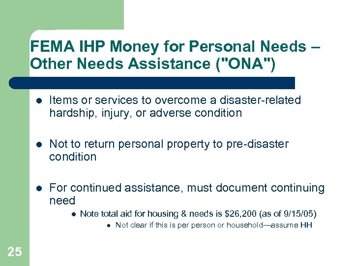 FEMA IHP Money for Personal Needs – Other Needs Assistance (