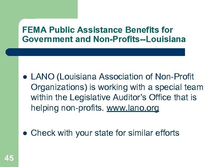 FEMA Public Assistance Benefits for Government and Non-Profits--Louisiana l l 45 LANO (Louisiana Association