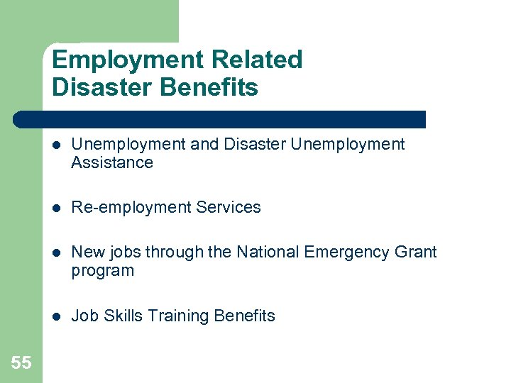 Employment Related Disaster Benefits l l Re-employment Services l New jobs through the National