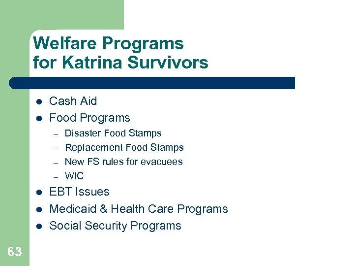 Welfare Programs for Katrina Survivors l l Cash Aid Food Programs – – l