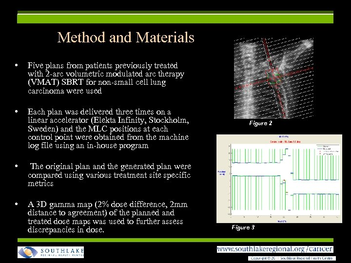 Method and Materials • Five plans from patients previously treated with 2 -arc volumetric