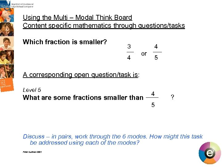 Using the Multi – Modal Think Board Content specific mathematics through questions/tasks Which fraction