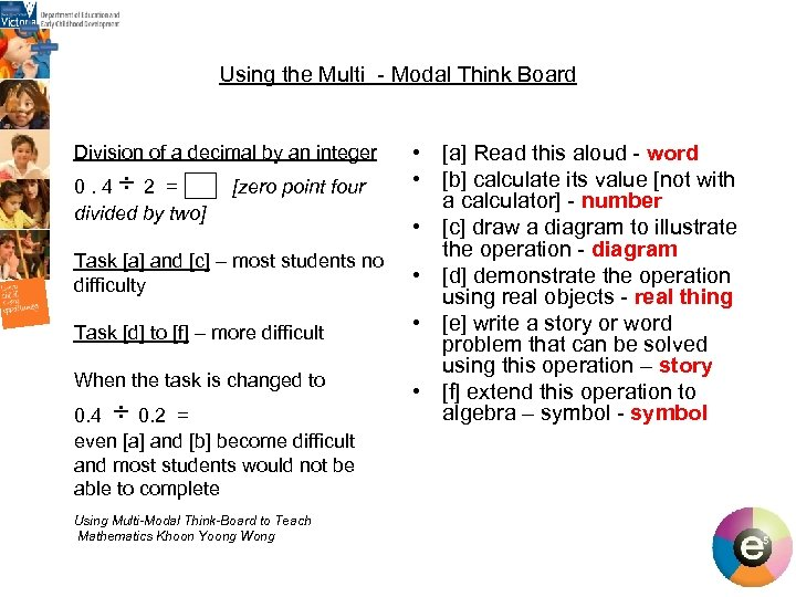 Using the Multi - Modal Think Board Division of a decimal by an integer