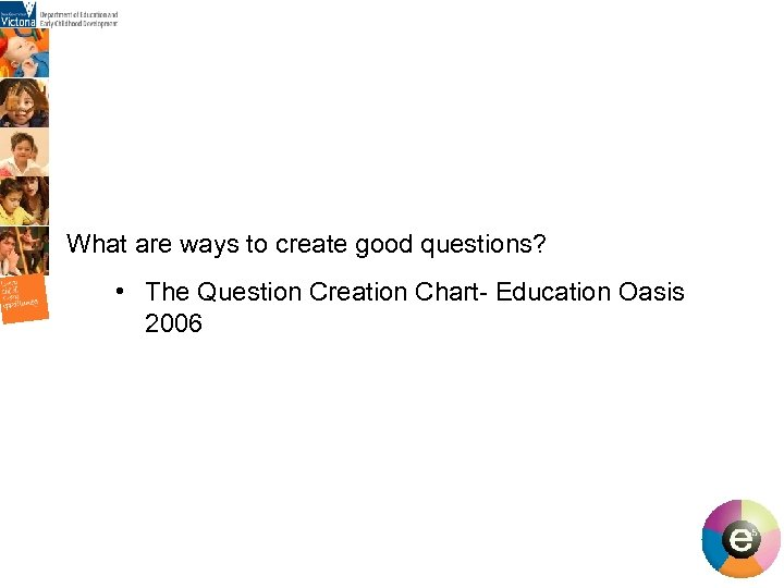 What are ways to create good questions? • The Question Creation Chart- Education