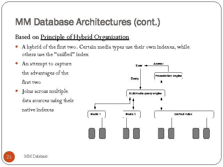 MM Database Architectures (cont. ) Based on Principle of Hybrid Organization A hybrid of