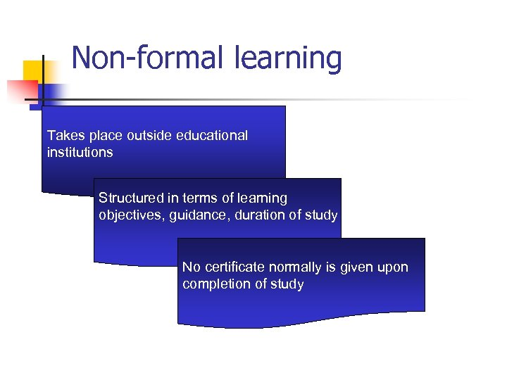 Non-formal learning Takes place outside educational institutions Structured in terms of learning objectives, guidance,