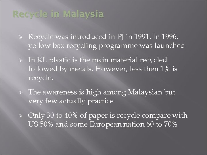 Recycle in Malaysia Ø Ø Recycle was introduced in PJ in 1991. In 1996,