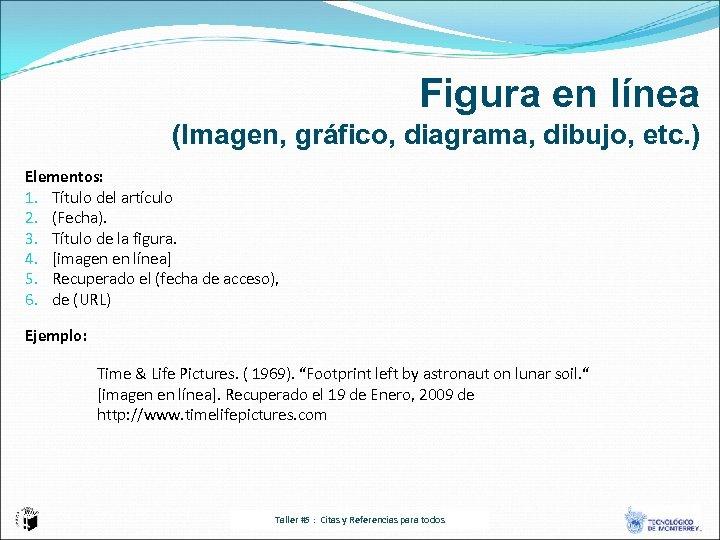 Figura en línea (Imagen, gráfico, diagrama, dibujo, etc. ) Elementos: 1. Título del artículo