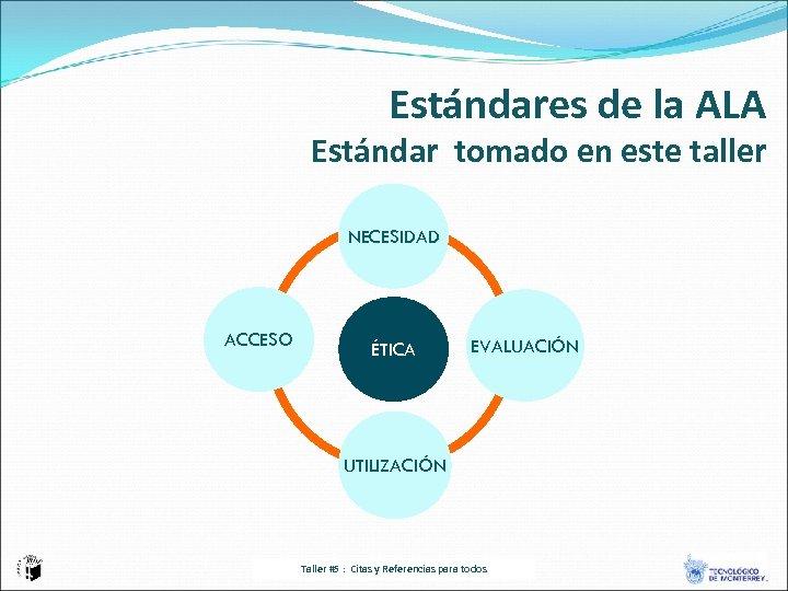 Estándares de la ALA Estándar tomado en este taller NECESIDAD ACCESO ÉTICA EVALUACIÓN UTILIZACIÓN