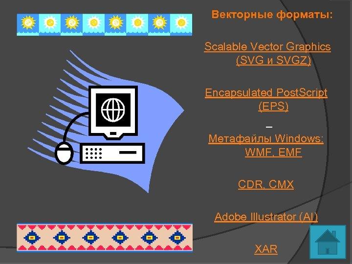 Векторные форматы: Scalable Vector Graphics (SVG и SVGZ) Encapsulated Post. Script (EPS) Метафайлы