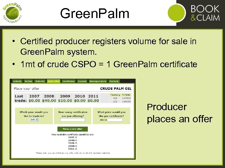 Green. Palm • Certified producer registers volume for sale in Green. Palm system. •