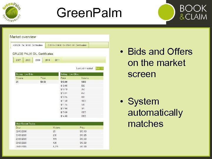Green. Palm • Bids and Offers on the market screen • System automatically matches