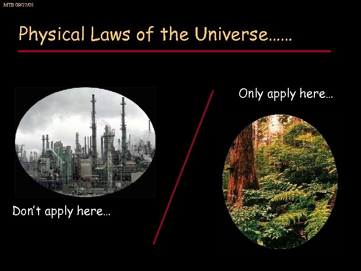 MTB 09/27/05 Physical Laws of the Universe…… Only apply here… Don't apply here…