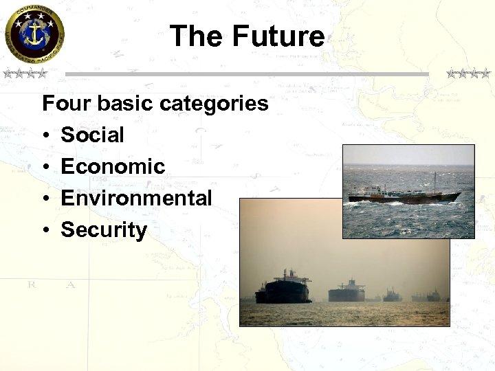 The Future Four basic categories • Social • Economic • Environmental • Security