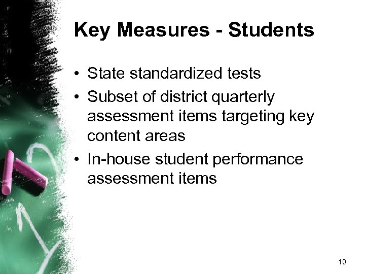 Key Measures - Students • State standardized tests • Subset of district quarterly assessment