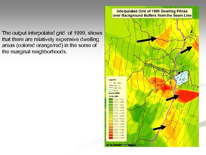 The output interpolated grid of 1999, shows that there are relatively expensive dwelling areas