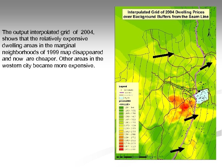 The output interpolated grid of 2004, shows that the relatively expensive dwelling areas in