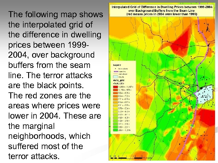 The following map shows the interpolated grid of the difference in dwelling prices between