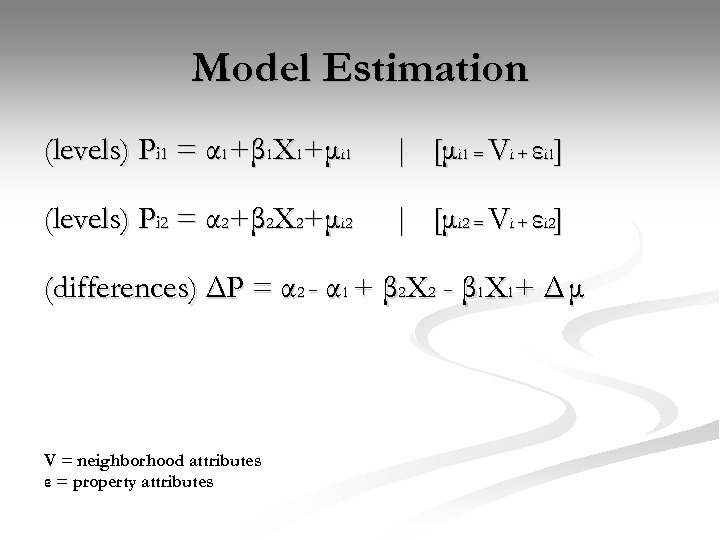 Model Estimation (levels) Pi 1 = α 1+β 1 X 1+μi 1 | [μi