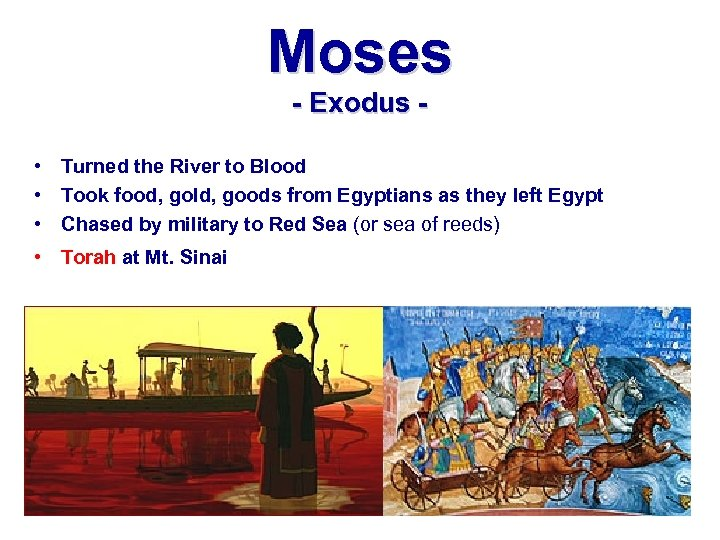 Moses - Exodus • Turned the River to Blood • Took food, gold, goods