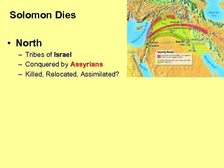 Solomon Dies • North – Tribes of Israel – Conquered by Assyrians – Killed,