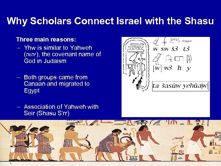 Why Scholars Connect Israel with the Shasu Three main reasons: – Yhw is similar