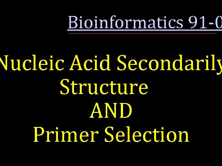 Bioinformatics 91 -0 Nucleic Acid Secondarily Structure AND Primer Selection