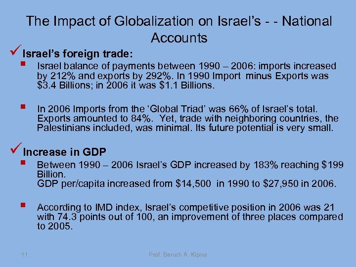 The Impact of Globalization on Israel's - - National Accounts üIsrael's foreign trade: §
