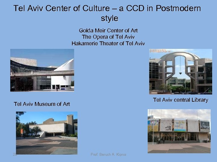 Tel Aviv Center of Culture – a CCD in Postmodern style Golda Meir Center