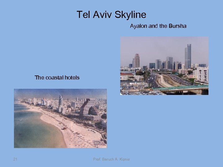 Tel Aviv Skyline Ayalon and the Bursha The coastal hotels 21 Prof. Baruch A.