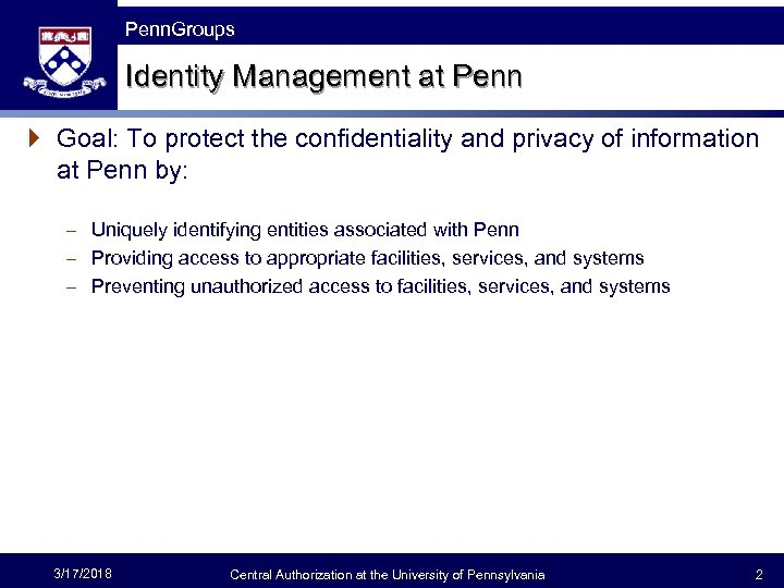 The Fast Framework Penn. Groups Identity Management at Penn } Goal: To protect the