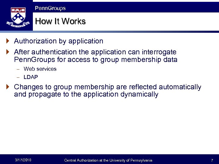 The Fast Framework Penn. Groups How It Works } Authorization by application } After