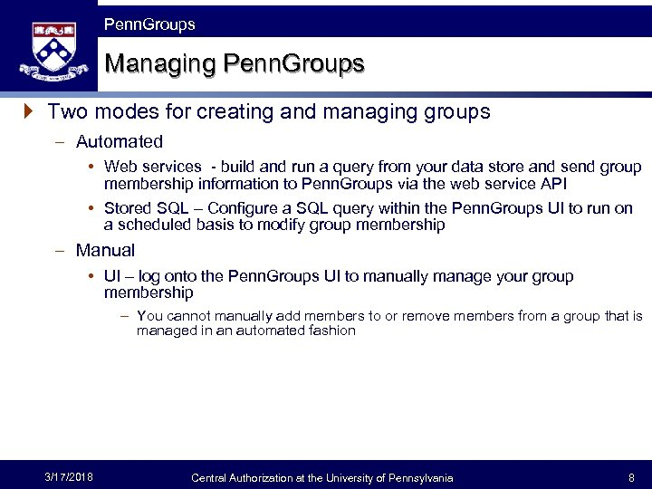 The Fast Framework Penn. Groups Managing Penn. Groups } Two modes for creating and