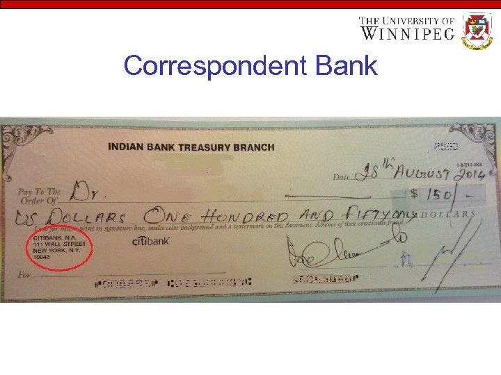 Correspondent Bank