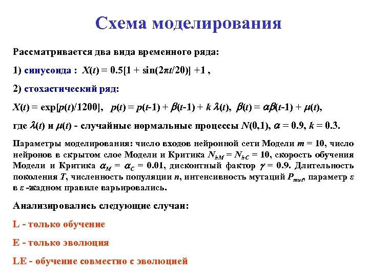 Схема моделирования Рассматривается два вида временного ряда: 1) синусоида : X(t) = 0. 5[1