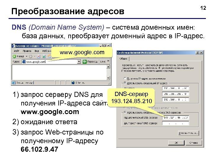Преобразование адресов 12 DNS (Domain Name System) – система доменных имен: база данных, преобразует