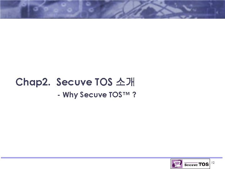 Chap 2. Secuve TOS 소개 - Why Secuve TOS™ ? 12