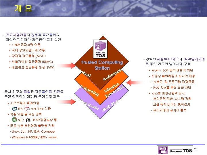 개요 - 전자서명인증과 강제적 접근통제의 결합으로 강력한 접근권한 통제 실현 • X. 509 전자서명