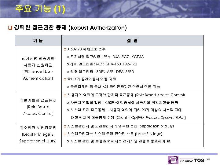 주요 기능 (1) q 강력한 접근권한 통제 (Robust Authorization) 기능 설 명 q X.