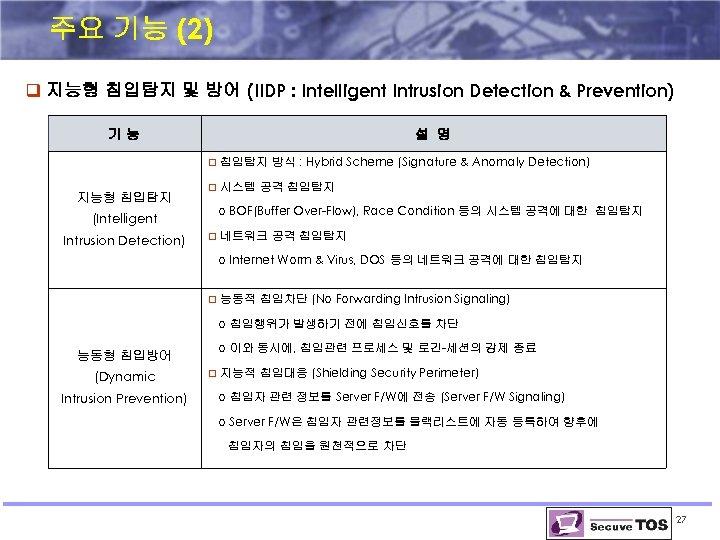 주요 기능 (2) q 지능형 침입탐지 및 방어 (IIDP : Intelligent Intrusion Detection &