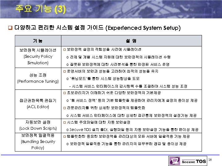 주요 기능 (3) q 다양하고 편리한 시스템 설정 가이드 (Experienced System Setup) 기능 보안정책