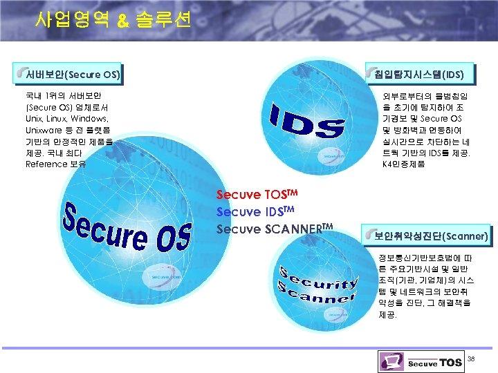 사업영역 & 솔루션 서버보안(Secure OS) 침입탐지시스템(IDS) 국내 1위의 서버보안 (Secure OS) 업체로서 Unix, Linux,