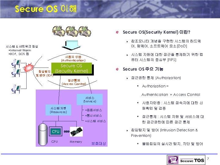 Secure OS 이해 Secure OS(Security Kernel) 이란? 4 시스템 & 네트워크 침입 • Internet