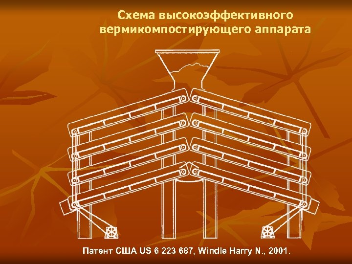 Схема высокоэффективного вермикомпостирующего аппарата Патент США US 6 223 687, Windle Harry N. ,