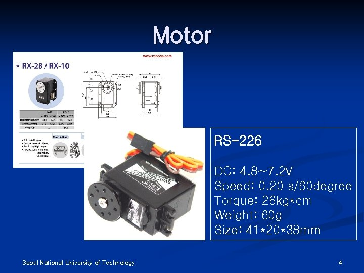 Motor RS-226 DC: 4. 8~7. 2 V Speed: 0. 20 s/60 degree Torque: 26