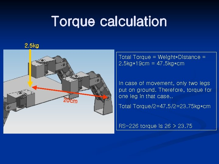 Torque calculation 2. 5 kg Total Torque = Weight*Distance = 2. 5 kg*19 cm