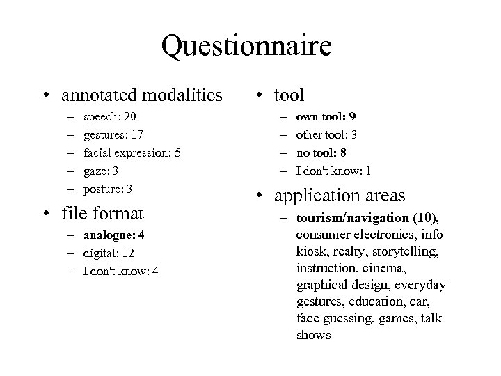 Questionnaire • annotated modalities – – – speech: 20 gestures: 17 facial expression: 5