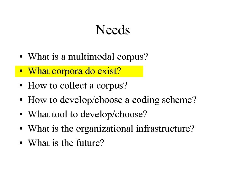 Needs • • What is a multimodal corpus? What corpora do exist? How to